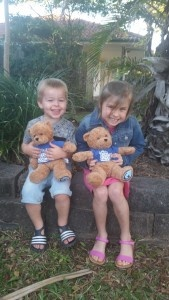 Above: Max with his new teddy.  Pictured with a friend who is keeping the second